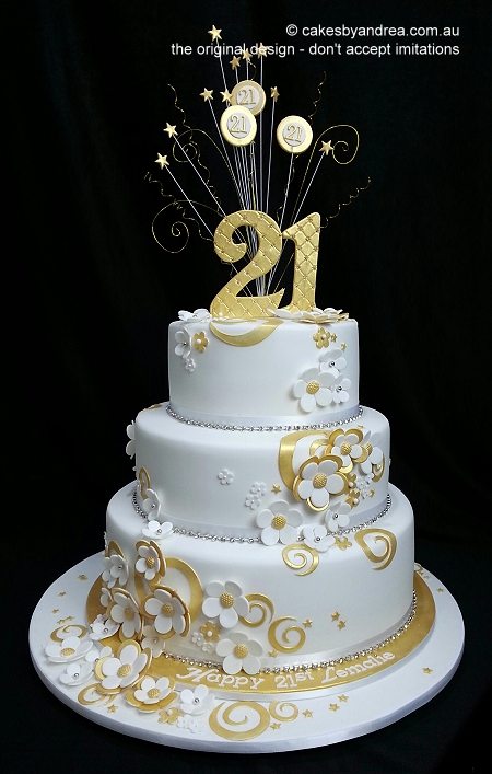 21st-birthday-cake-3-tier-white-gold-swirls