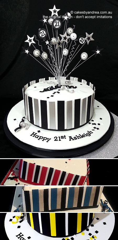 21st-birthday-cake-black-white-silver-stripes-poppers-stars-red-blue-yellow-variations