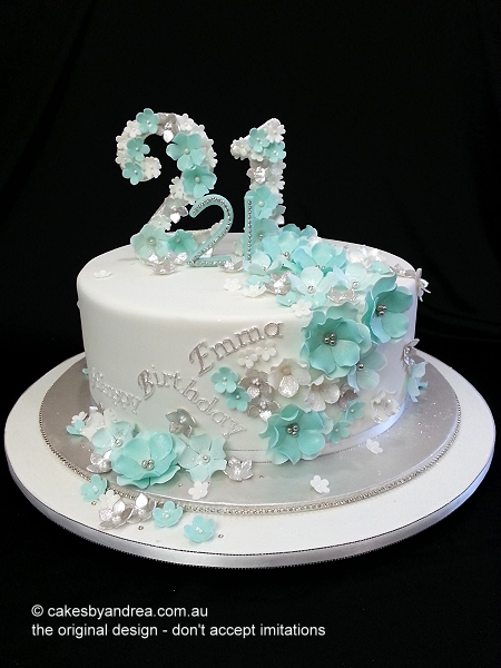 21st-birthday-cake-floral-monogram-blossoms