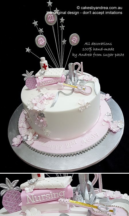 21st-birthday-cake-girl-pink-silver-guitar-nursing