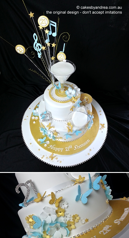 21st-birthday-cake-gold-blue-white-martini-2-tier-music