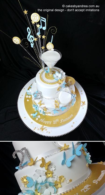 21st-birthday-cake-gold-blue-white-martini-2-tier-music