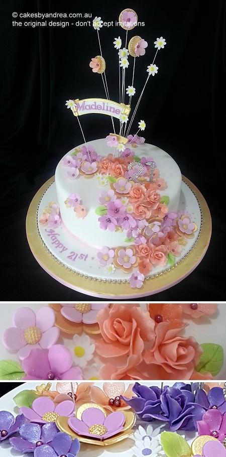 21st-birthday-cake-gold-modern-roses