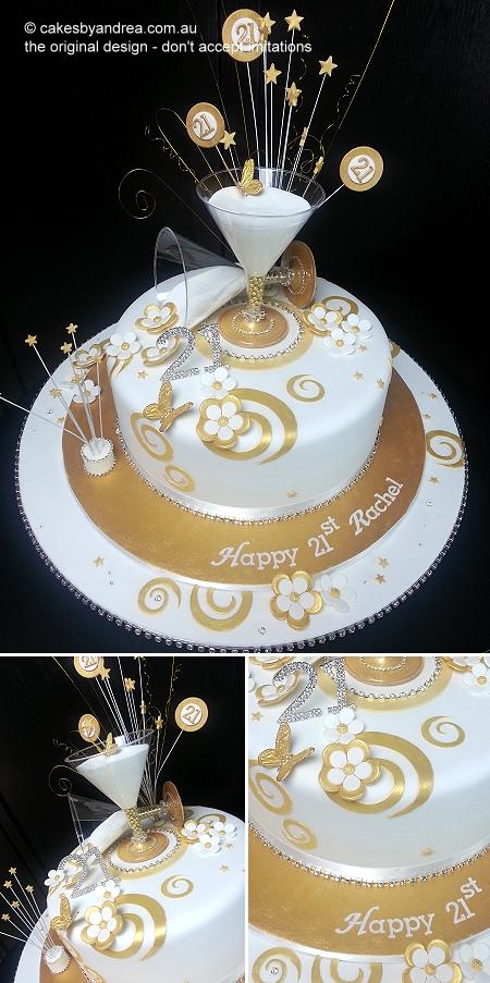 21st-birthday-cake-gold-white-martini-glass