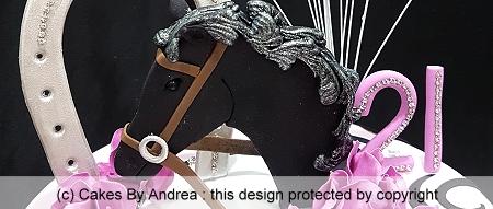 21st-birthday-cake-horse-head-reins-horseshoe-pink-roses