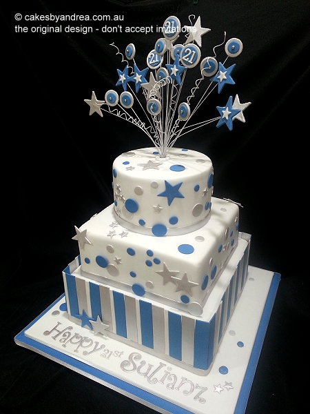 21st-birthday-cake-male-stars-dots-stripes-three-tier
