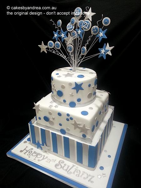 21st-birthday-cake-male-stars-dots-stripes-three-tier
