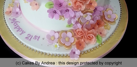 21st-birthday-cake-mini-roses-stylised-blossoms-gold-board