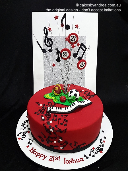 21st-birthday-cake-red-black-music-keyboard-sports-balls