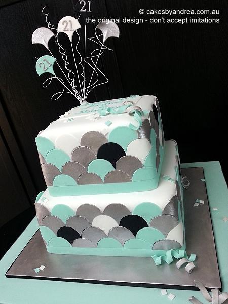 21st-birthday-cake-scallop-2-tier-blue-silver-black