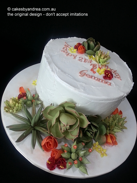 21st-birthday-cake-succulents-flowers