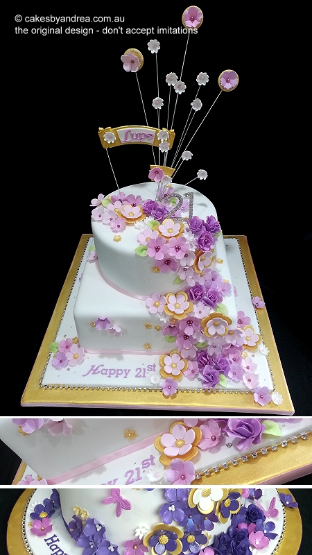 21st-birthday-cake-two-tier-pink-fuschia-gold-and-round-option