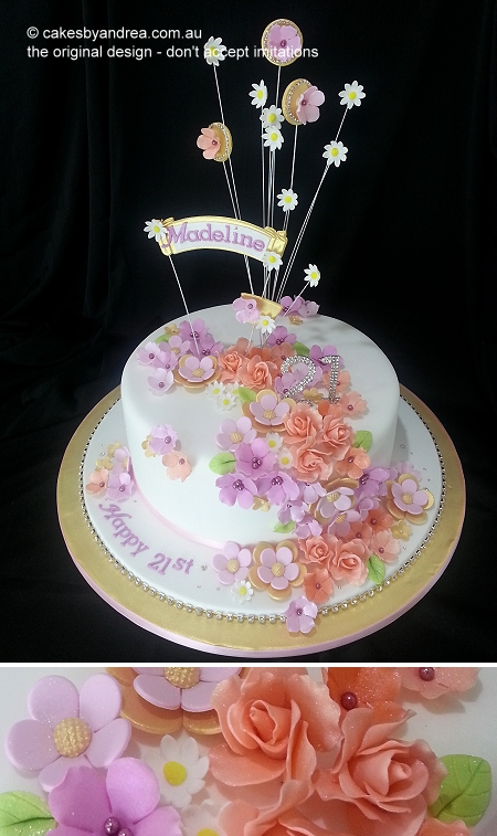 21st-birthday-cake-gold-autumn-modern-roses