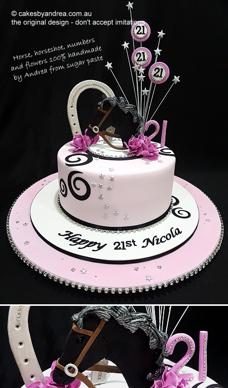 21st-birthday-cake-horse-horseshoe-swirls-pink