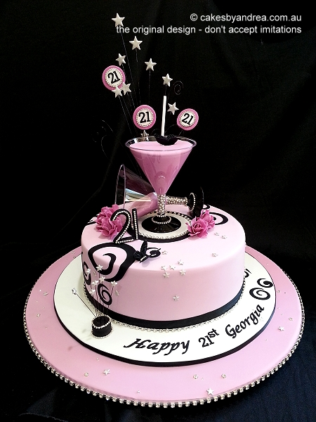 21st-birthday-cake-pink-martini-glasses-roses