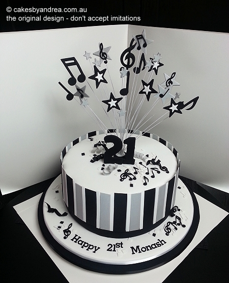 21st-cake-music-black-white-silver-stripes