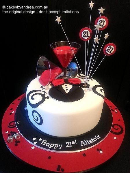 21st-cake-tuxedo-red-black-white