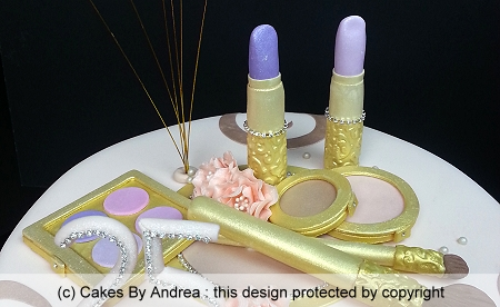 25th-birthday-custom-cake-gold-makeup-diamante-age-swirls