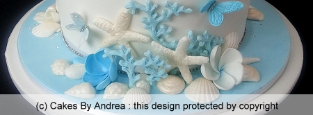 40th-birthday-cake-coral-seashell-starfish-blue-white