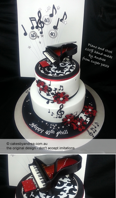 40th-birthday-cake-piano-music-black-red-white-note