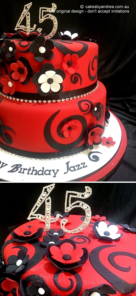 45th-birthday-cake-two-tier-red-swirls-flowers