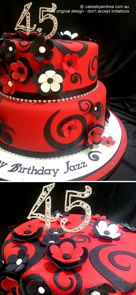 45th-birthday-cake-two-tier-red-swirls-flowers