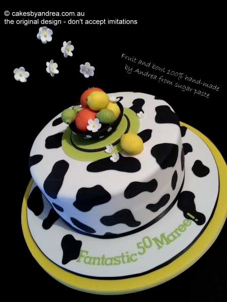 50th-birthday-cake-cow-spots-citrus-black-yellow
