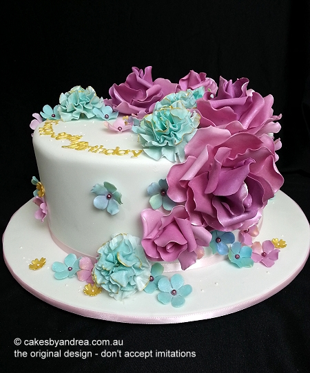50th birthday cake pink rose blue carnation