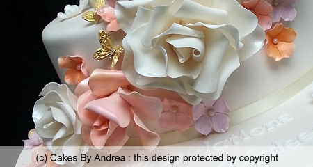 50th-birthday-cake-roses-pastel-gold-butterflies