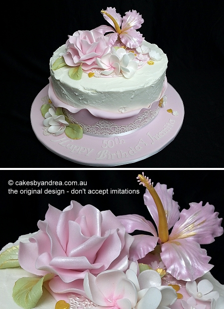 50th-birthday-frosted-hibiscus-rose-pink-lace
