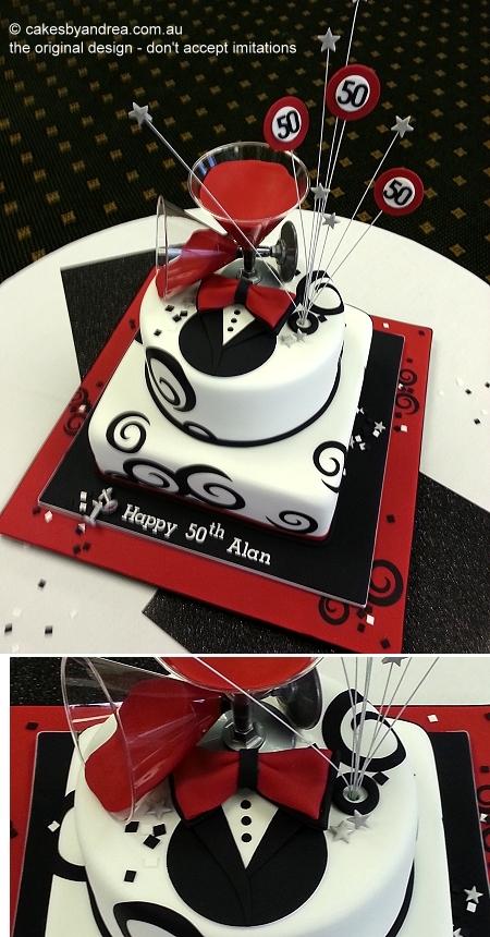 50th-birthday-male-tuxedo-martini-red-black-2-tier
