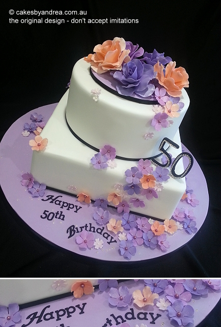 50th-birthday-cake-two-tier-coral-purple-roses