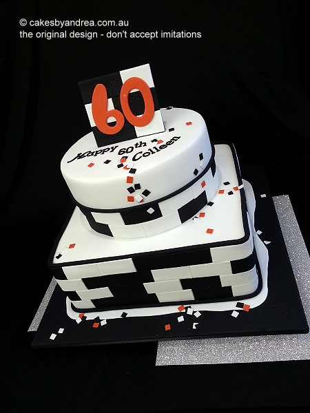 60th-birthday-cake-2-tier-black-white-brickwork