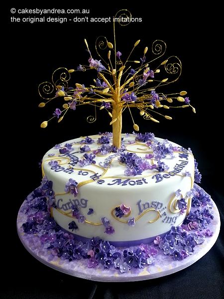 60th-birthday-cake-gold-tree-mauve-blossoms