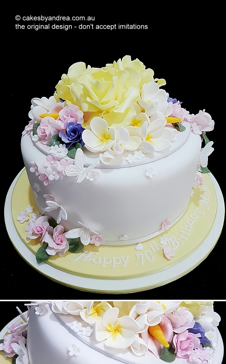 70th-birthday-cake-yellow-rose-lily-frangipani