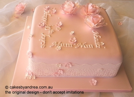 90th-birthday-cake-pink-roses-lace