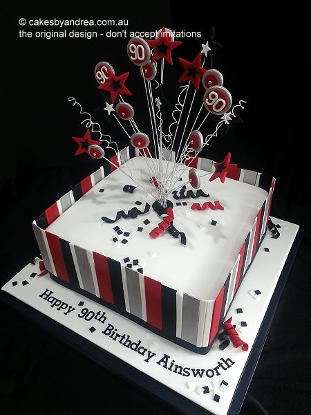 90th-birthday-red-silver-black-stripes-square