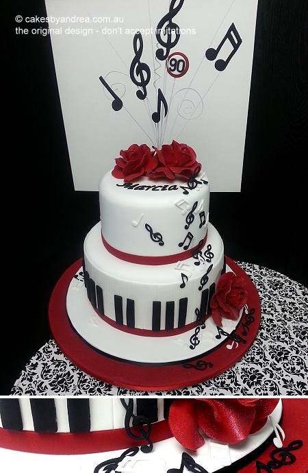 90th-music-note-theme-birthday-cake-red-roses-detail