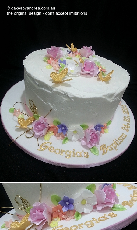 baptism-cake-frosted-flowers-gold-butterflies