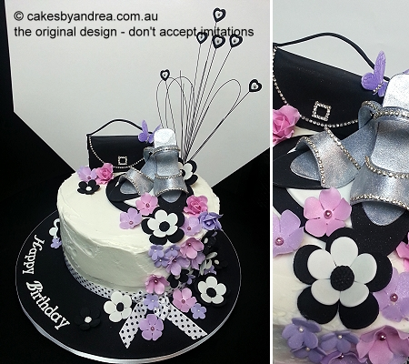 birthday-cake-black-bag-silver-shoes
