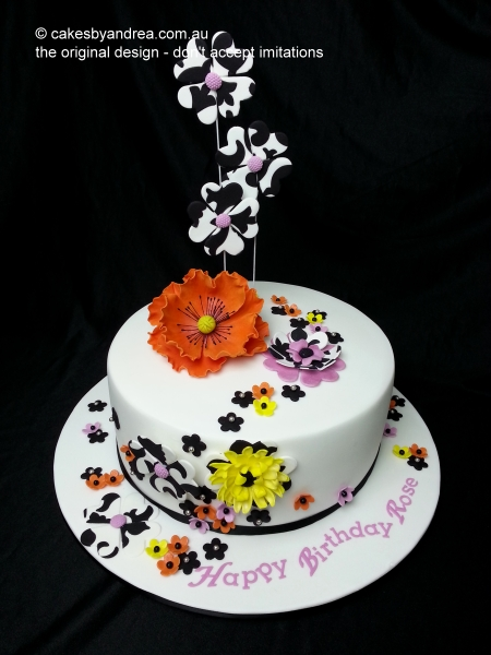 birthday-cake-orange-poppy-art-deco-flowers
