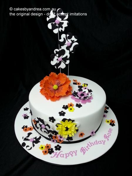 birthday-cake-orange-poppy-art-deco-flowers