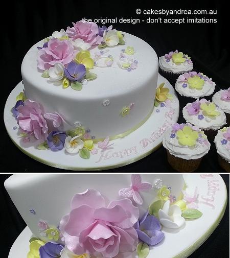 birthday-cake-pastel-roses-frangipanis-cupcakes