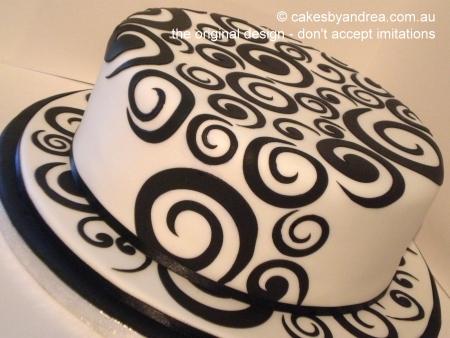 black-swirl-white-fondant-birthday-cake