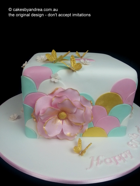 celebration-cake-pastel-gold-scallop-pink-flower-butterflies
