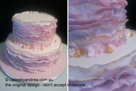 engagement-cake-ribbon-ruffles-pink-gold
