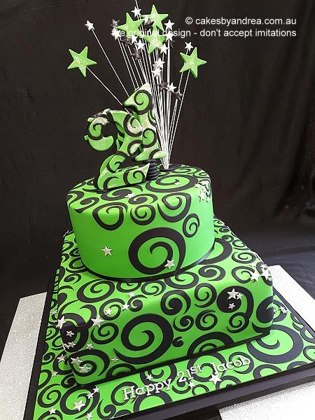 male-21st-birthday-cake-green-black-swirls