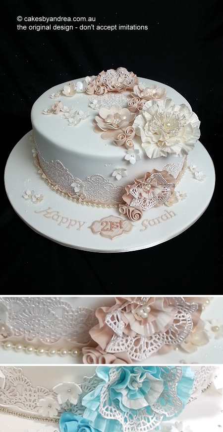 modern-vintage-21st-birthday-cake-lace-pearls-diamante