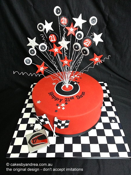 21st birthday cake red racing chequered flag