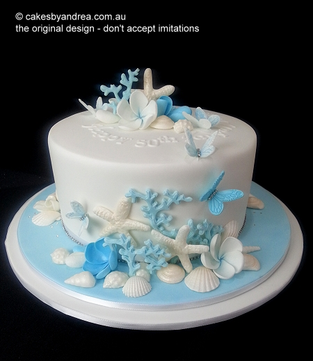 50th-birthday-cake-seashell-coral-theme-blue-white-single-tier